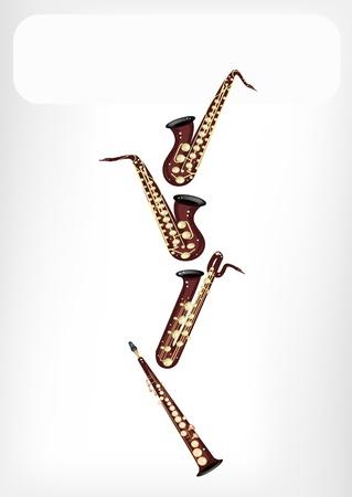 soprano saxophone: Instrumento de m�sica, una ilustraci�n de cuatro tipo de Saxof�n, Saxof�n Soprano, Saxof�n Alto, Saxof�n bar�tono y tenor con Marcas de Espacio y texto Decorado