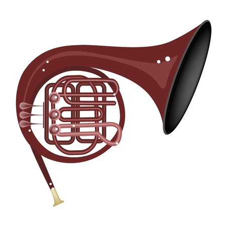 woodwind: Music Instrument, An Illustration Brown Color of Vintage French Horn Isolated on White Background