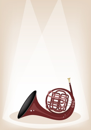 Music Instrument, An Illustration Brown Color of French Horn on Brown Stage Background with Copy Space for Text Decorated Vector