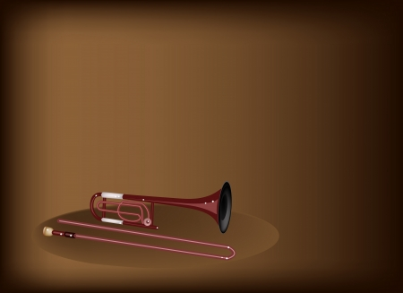 tenor: Music Instrument, An Illustration Brown Color of Vintage Trombone on Beautiful Vintage Dark Brown Background with Copy Space for Text Decorated