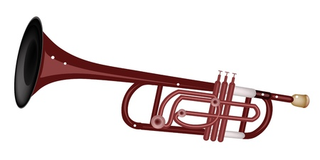 tenor: Music Instrument, An Illustration Brown Color of Vintage Trumpet Isolated on White Background