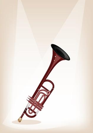 tenore: Strumento di musica, Un'illustrazione Marrone Colore di Vintage Tromba su Brown stage background con copia spazio per il testo Decorato