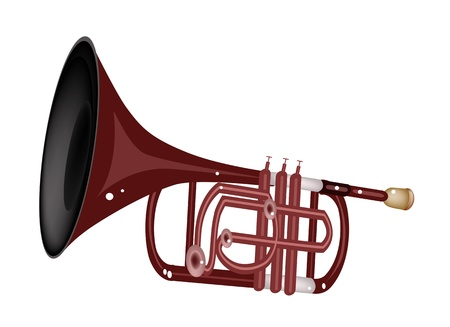 cornet: Music Instrument, An Illustration Brown Color of Vintage Cornet Isolated on White Background