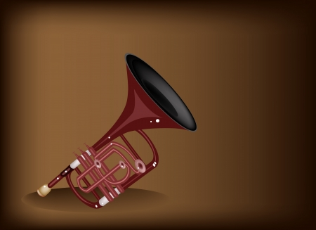 cornet: Music Instrument, An Illustration Brown Color of Vintage Cornet on Beautiful Dark Brown Background with Copy Space for Text Decorated