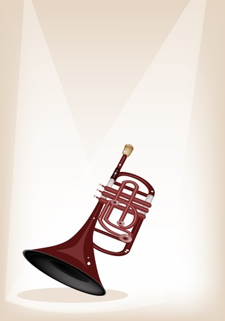 cornetta: Strumento di musica, un'illustrazione a colori di Brown Vintage Cornet su Brown stage background con copia spazio per il testo decorato Vettoriali