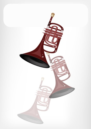 woodwind: Music Instrument, An Illustration Brown Color of Vintage Cornet with White Label for Copy Space and Text Decorated