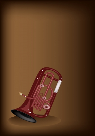 Music Instrument, An Illustration Brown Color of Vintage Antique Brass Tuba or Euphonium on Beautiful Dark Brown Background with Copy Space for Text Decorated