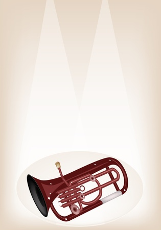 tuba: Music Instrument, An Illustration Brown Color of Vintage Antique Brass Tuba or Euphonium on Brown Stage Background with Copy Space for Text Decorated