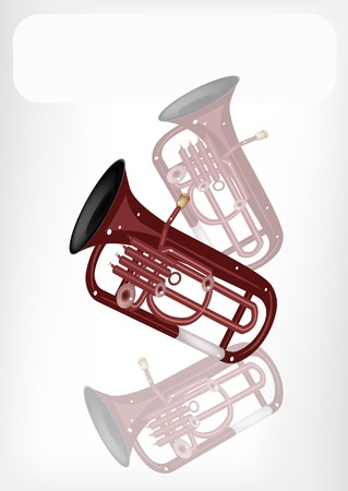 Music Instrument, An Illustration Brown Color of Vintage Antique Brass Tuba or Euphonium with White Label for Copy Space and Text Decorated Vector
