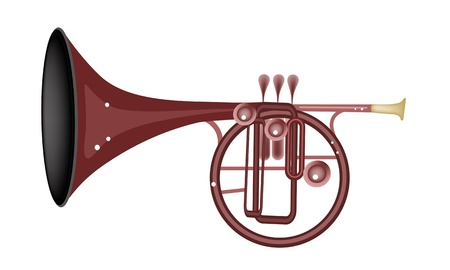 Music Instrument, An Illustration Brown Color of Vintage Straight Mellophone Isolated on White Background Vector