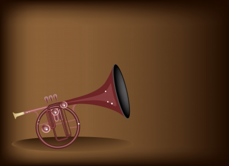 tenor: Music Instrument, An Illustration Brown Color of Vintage Straight Mellophone on Beautiful Dark Brown Background with Copy Space for Text Decorated