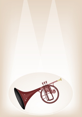 woodwind: Music Instrument, An Illustration Brown Color of Vintage Straight Mellophone on Brown Stage Background with Copy Space for Text Decorated