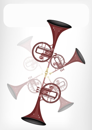 Music Instrument, An Illustration Brown Color of Vintage Straight Mellophone with White Label for Copy Space and Text Decorated Vector