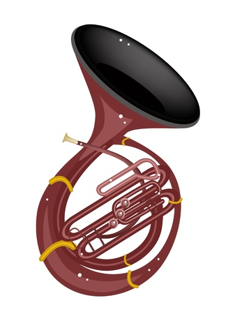 Music Instrument, An Illustration Brown Color of Vintage Sousaphone Isolated on White Background