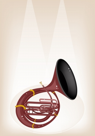 Music Instrument, An Illustration Brown Color of Vintage Sousaphone on Brown Stage Background with Copy Space for Text Decorated Stock Vector - 20085371