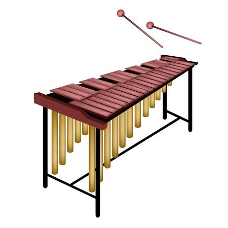 Instrumento de música, una ilustración de Marimba en el Stand and Two Beater Aislado en el fondo blanco Foto de archivo - 20204839