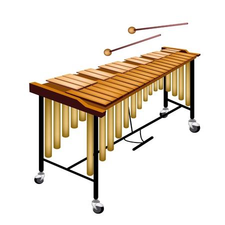 음악 악기, 흰색 배경에 고립 된 스탠드와 두 패는에 비브라폰의 그림