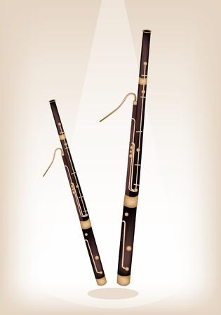 fagot: Instrument muzyczny, Ilustracja Brown Kolor Vintage Classical fagot na brązowym tle scenie z miejsca kopiowania tekstu Zdobione