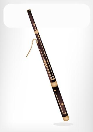 fagot: Instrument muzyczny, Ilustracja Brązowy Kolor Vintage Klasycznym fagot z White Label dla kopiowania i tekst Zdobione Ilustracja