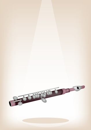 piccolo: Music Instrument, An Illustration Brown Color of Vintage Symphonic Piccolo on Brown Stage Background with Copy Space for Text Decorated