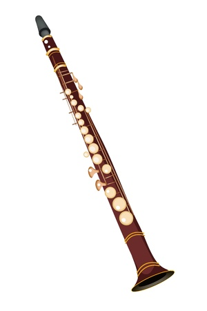 melodious: Music Instrument, An Illustration Brown Color of Vintage Clarinet Isolated on White Background