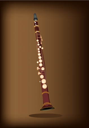 chamber: Music Instrument, An Illustration Brown Color of Vintage Clarinet on Beautiful Dark Brown Background with Copy Space for Text Decorated  Illustration