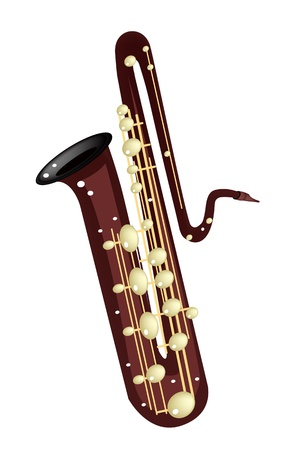 Music Instrument, An Illustration Brown Color of Golden Vintage Bass Saxophone Isolated on White Background Stock Vector - 20485840