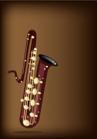 Music Instrument, An Illustration Brown Color of Golden Vintage Bass Saxophone on Dark Brown Background Stock Vector - 20485834