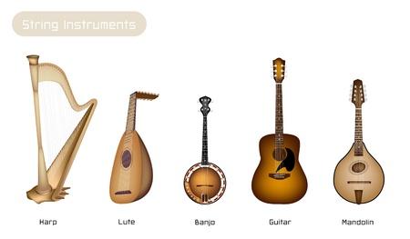 arpa: Diferentes tipos de hermosos antiguos cuerdas para instrumentos musicales, Bluegrass Mandolina, Banjo y Lute en Hermosa Vintage Brown Stage fondo con copia espacio para el texto decorado