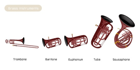 Illustration Brown Color of Musical Vintage Brass Instrument, Trombone, Baritone, Euphonium, Tuba and Sousaohone Isolated on White Background
