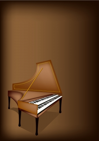 melodious: Music Instrument, An Illustration Brown Color of Vintage Harpsichord on Beautiful Dark Brown Background with Copy Space for Text Decorated  Illustration