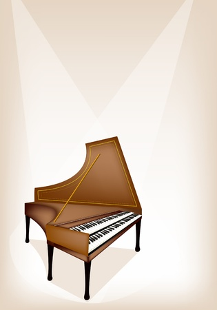 melodious: Music Instrument, An Illustration Brown Color of Vintage Harpsichord on Brown Stage Background with Copy Space for Text Decorated