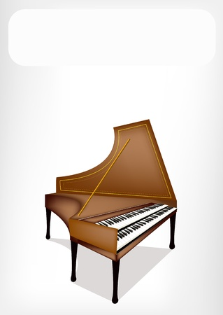 melodious: An Illustration Brown Color of Vintage Harpsichord with White background Illustration
