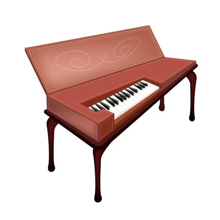 Vintage Clavichord Isolated on White Background Vector