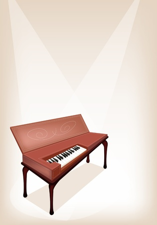 melodious: An Illustration Brown Color of Vintage Clavichord on Brown Stage Background
