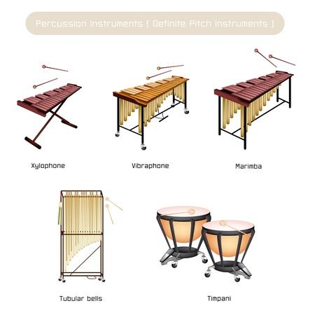 Illustrazione Brown di colore Collezione di Strumenti a Percussione Vintage, Vibrafono, Marimba, Xilofono, Tubular Bells e Timpani isolati su sfondo bianco Vettoriali