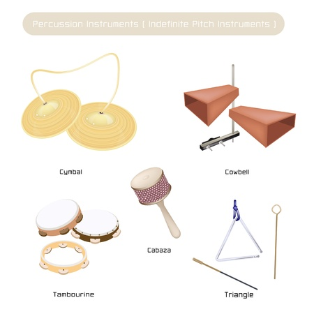 sha: Vintage Musical Indefinite Pitch Instruments, Cymbal, Cowbell, Tambourine, Musical Triangle and Cabasa Isolated on White Background