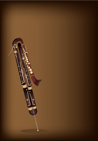 fagot: Vintage Classical Contrabassoon na piękne ciemne brązowe tło