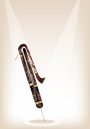 flute key: Vintage Classical Contrabassoon on Brown Stage Background