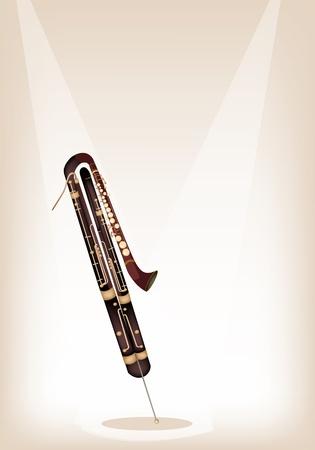 fagot: Vintage Klasyczny Contrabassoon na tle Brown Stage