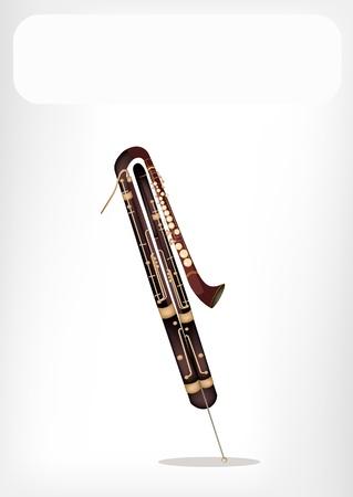 fagot: Vintage Klasyczny Contrabassoon z białym tłem