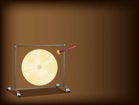 An Illustration of Musical Metal Gong and Beater on Beautiful Dark Brown Background Illustration