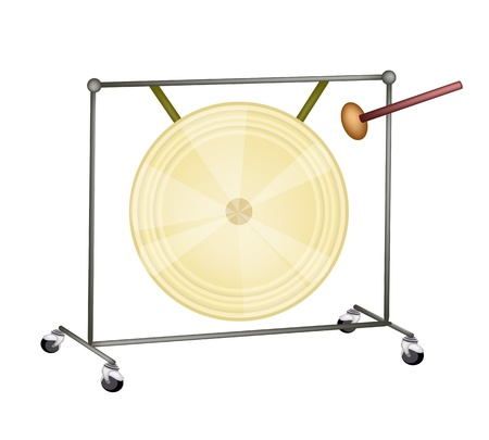 An Illustration of Musical Metal Gong and Beater Isolated on White Background Vector