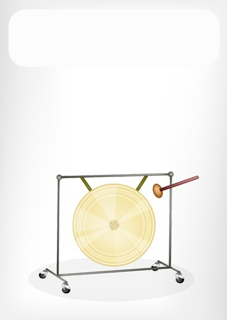 An Illustration of Musical Metal Gong and Beater with White background