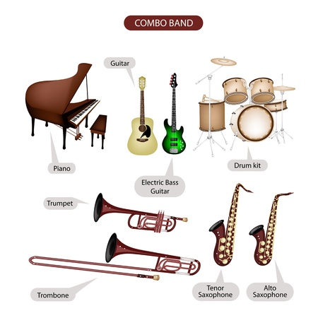 Illustration Brown Color Collection of Musical Instruments Combo Brand, Piano, Guitar, Electric Bass Guitar, Drum Kit, Trumpet, Trombone, Tenor Saxophone and Alto Saxophone in Retro Style  Vector