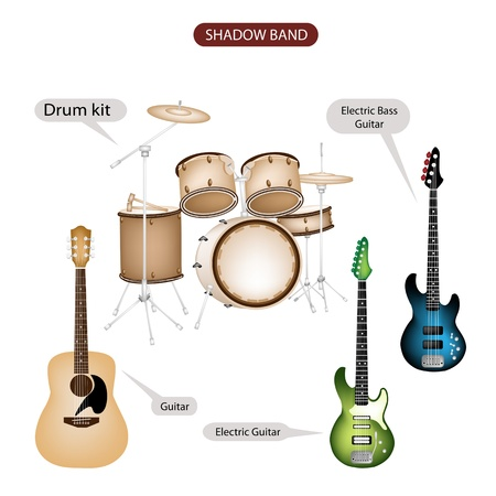 combo: Illustration Brown Color Collection of Musical Instruments Shadow Band, Guitar, Electric Guitar, Electric Bass Guitar and Drum Kit in Retro Style