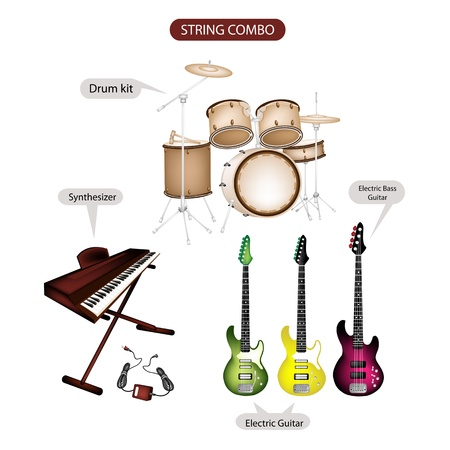 Illustration Brown Color Collection of Musical Instruments String Combo, Electric Guitar, Electric Bass Guitar, Synthesizer and Drum Kit in Retro Style  Illustration