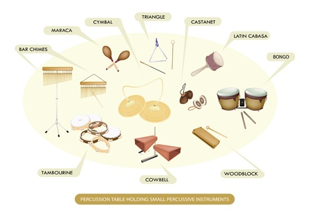 chimes: Illustration Collection of Different Sections of Percussion Table Holding Small Percussive Instruments for Symphony Orchestra Concert