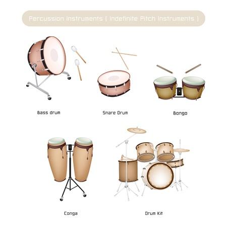 Ilustración Colección de color marrón de instrumentos de percusión musicales vintage, bongo, conga, bombo, caja y batería aislado sobre fondo blanco.