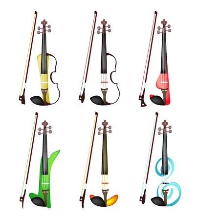 violins: Music Instrument, Illustration Collection of Six Beautiful and Modern Violins on White Background